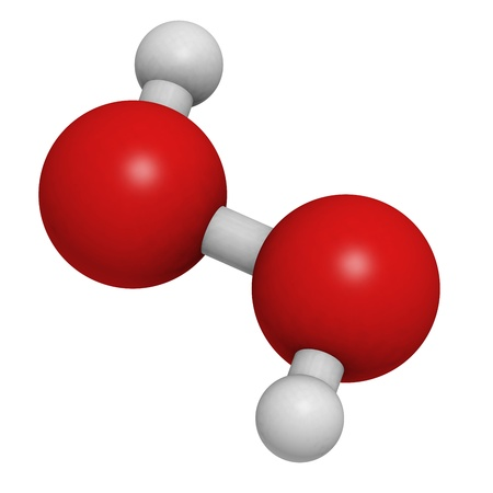 Hydrogen peroxide (H2O2) molecule, chemical structure. HOOH is an example of a reactive oxygen species (ROS). H2O2 solutions are often used in bleach and cleaning agents. Atoms are represented as spheres with conventional color coding: hydrogen (white), o Stock Photo