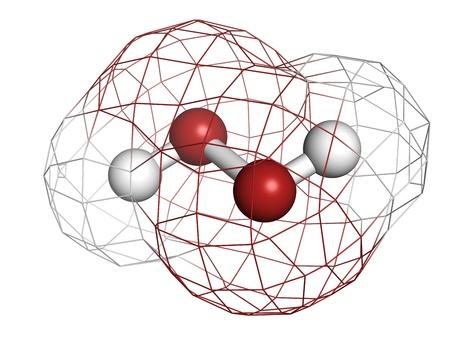 hydrogen: El per�xido de hidr�geno (H2O2), mol�cula, estructura qu�mica. HOOH es un ejemplo de una especie de ox�geno reactivo (ROS). H2O2 soluciones se utilizan a menudo en blanqueo y agentes de limpieza. Los �tomos se representan como esferas con codificaci�n de colores convencionales: hidr�geno (blanco), o Foto de archivo