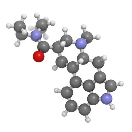 lsd: Lysergic acid diethylamide (LSD) hallucinogenic drug, molecular model. Atoms are represented as spheres with conventional color coding: hydrogen (white), carbon (grey), oxygen (red), nitrogen (blue)