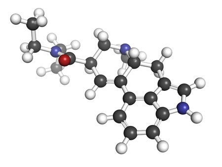 Lysergic acid diethylamide (LSD) hallucinogenic drug, molecular model. Atoms are represented as spheres with conventional color coding: hydrogen (white), carbon (grey), oxygen (red), nitrogen (blue) Stock Photo - 18212798
