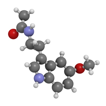 regulating: melatonin hormone, molecular model. Melatonin plays a role in regulating the daily biological cycle (circadian rythm). Atoms are represented as spheres with conventional color coding: hydrogen (white), carbon (grey), oxygen (red), nitrogen (blue) Stock Photo