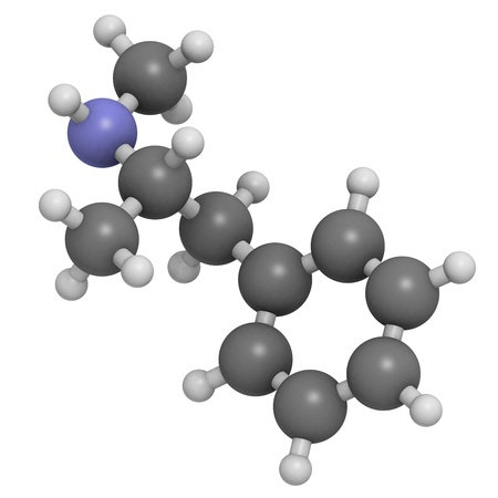 methamphetamine (crystal, meth) psychostimulant drug, molecular model. Atoms are represented as spheres with conventional color coding: hydrogen (white), carbon (grey), nitrogen (blue) Stock Photo - 18212851