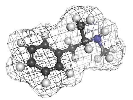 methamphetamine: methamphetamine (crystal, meth) psychostimulant drug, molecular model. Atoms are represented as spheres with conventional color coding: hydrogen (white), carbon (grey), nitrogen (blue) Stock Photo