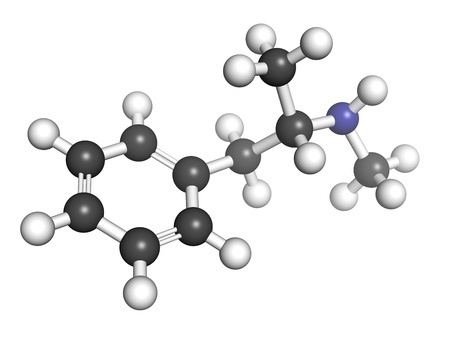 meth: methamphetamine (crystal, meth) psychostimulant drug, molecular model. Atoms are represented as spheres with conventional color coding: hydrogen (white), carbon (grey), nitrogen (blue) Stock Photo