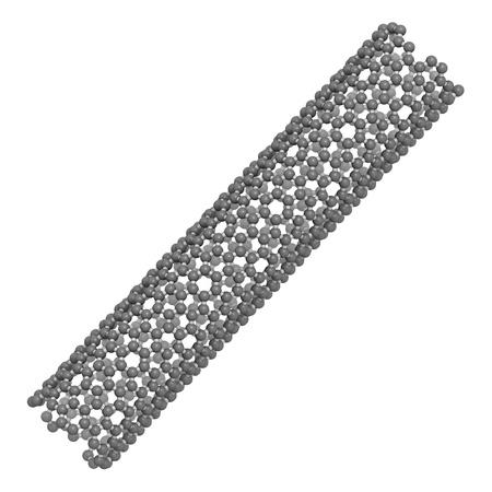 nanotubes: Carbon nanotube, molecular model. Carbon nanotubes are promising nanotechnology materials. Atoms are represented as spheres