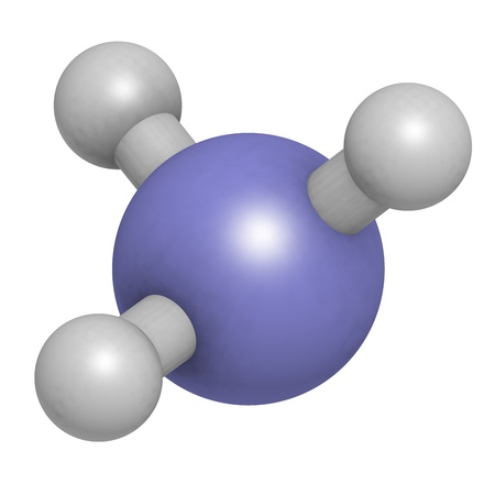 Ammonia (NH3), molecular model. Atoms are represented as spheres with conventional color coding: hydrogen (white), nitrogen (blue)