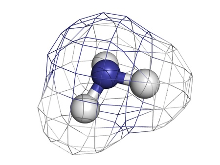 ammonium: Ammonia (NH3), molecular model. Atoms are represented as spheres with conventional color coding: hydrogen (white), nitrogen (blue)