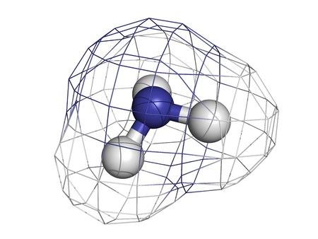 amoniaco: El amoníaco (NH3), el modelo molecular. Los átomos se representan como esferas con codificación de color convencionales: hidrógeno (blanco), nitrógeno (azul)
