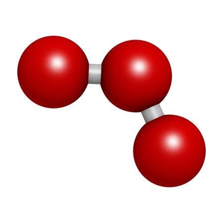 Ozone (trioxygen, O3) molecule, chemical structure. Atoms are represented as spheres with conventional color coding Stock Photo