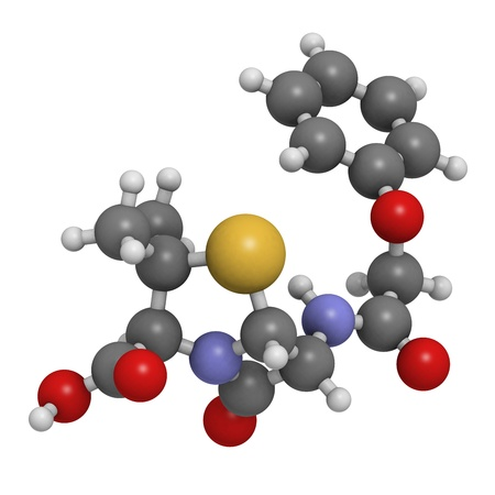 Penicillin V antibiotic molecule, chemical structure. Penicillin V or phenoxymethylpenici llin is used to treat bacterial infections. Atoms are represented as spheres with conventional color coding: hydrogen (white), carbon (grey), oxygen (red), nitrogen Stock Photo - 18212882