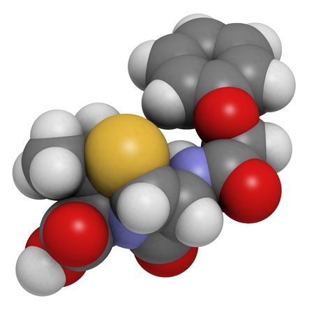 Penicillin V antibiotic molecule, chemical structure. Penicillin V or phenoxymethylpenici llin is used to treat bacterial infections. Atoms are represented as spheres with conventional color coding: hydrogen (white), carbon (grey), oxygen (red), nitrogen  Stock Photo - 18212903