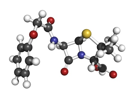 Penicillin V antibiotic molecule, chemical structure. Penicillin V or phenoxymethylpenici llin is used to treat bacterial infections. Atoms are represented as spheres with conventional color coding: hydrogen (white), carbon (grey), oxygen (red), nitrogen Stock Photo - 18212786
