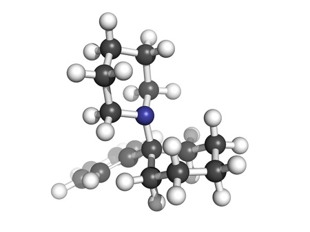 phencyclidine (PCP) recreational drug, molecular model. Atoms are represented as spheres with conventional color coding: hydrogen (white), carbon (grey), nitrogen (blue) Stock Photo - 18213022