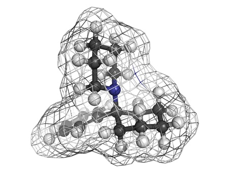 phencyclidine (PCP) recreational drug, molecular model. Atoms are represented as spheres with conventional color coding: hydrogen (white), carbon (grey), nitrogen (blue) Stock Photo - 18213023