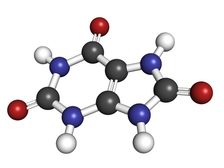 Uric acid gout molecule, chemical structure  High blood levels of uric acid cause the disease gout  Atoms are represented as spheres with conventional color coding  hydrogen  white , carbon  grey , oxygen  red , nitrogen  blue Stock Photo - 18212784