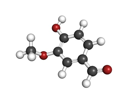 Vanillin vanilla extract molecule, chemical structure  Vanillin is the main component of vanilla extract  Atoms are represented as spheres with conventional color coding  hydrogen  white , carbon  grey , oxygen  red Stock Photo - 18212765