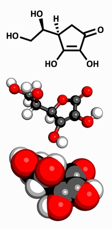 reactive: Vitamin C  ascorbic acid , molecular model  Atoms are represented as spheres with conventional color coding  hydrogen  white , carbon  grey , oxygen  red