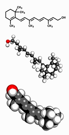 cod liver: Vitamin A  retinol , molecular model  Atoms are represented as spheres with conventional color coding  hydrogen  white , carbon  grey , oxygen  red