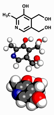 vitamine: Vitamin B6  pyridoxine , molecular model  Atoms are represented as spheres with conventional color coding  hydrogen  white , carbon  grey , oxygen  red , nitrogen  blue