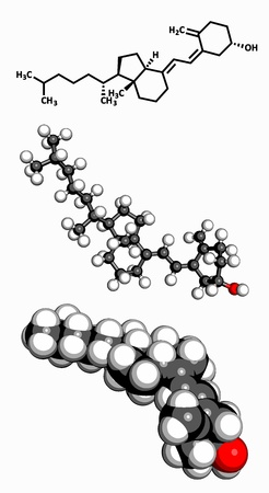 deficiency: Vitamin D3  cholecalciferol , molecular model  Atoms are represented as spheres with conventional color coding  hydrogen  white , carbon  grey , oxygen  red  Illustration
