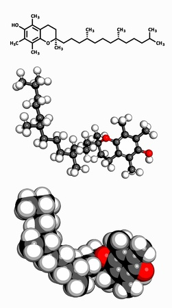 Vitamin E  alpha-tocopherol , molecular model  Atoms are represented as spheres with conventional color coding  hydrogen  white , carbon  grey , oxygen  red