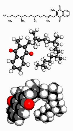 glutamate: Vitamin K1  phylloquinone , molecular model  Atoms are represented as spheres with conventional color coding  hydrogen  white , carbon  grey , oxygen  red