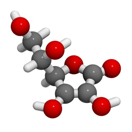 scurvy: Vitamin C (ascorbic acid), molecular model.