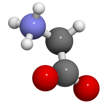 glycine: Glycine (Gly, G) amino acid, molecular model. Amino acids are the building blocks of all proteins.