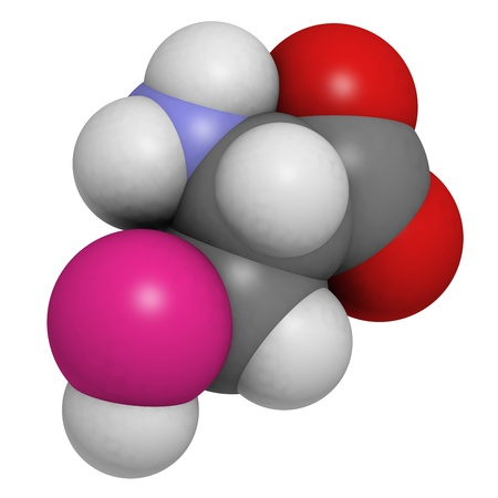 Selenocysteine (Sec, U) amino acid, molecular model. Amino acids are the building blocks of all proteins. Atoms are represented as spheres with conventional color coding: hydrogen (white), carbon (grey), oxygen (red), nitrogen (blue), selenium (pink) Stock Photo - 18300062