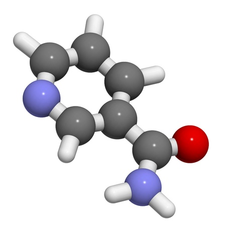 deficiency: Vitamin B3 (niacinamide, nicotinic acid amide), molecular model. Atoms are represented as spheres with conventional color coding: hydrogen (white), carbon (grey), oxygen (red)
