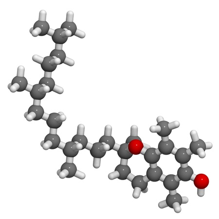 reactive: Vitamin E (alpha-tocopherol), molecular model. Atoms are represented as spheres with conventional color coding: hydrogen (white), carbon (grey), oxygen (red) Stock Photo