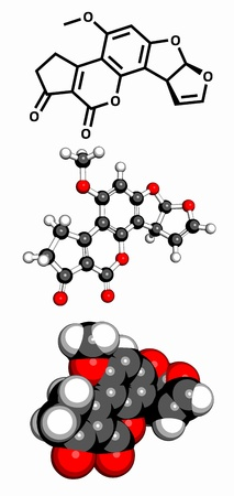 Aflatoxin B1 carcinogenic food contaminant molecule, chemical structure. Three representations: 2D skeletal formula, 3D space-filling model and 3D ball-and-stick model. Stock Vector - 18409278