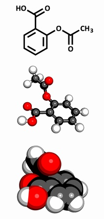 aspirin: Acetylsalicylic acid (aspirin) pain relief drug molecule, molecular model. Three representations: 2D skeletal formula, 3D space-filling model and 3D ball-and-stick model.