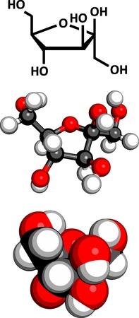 fruttosio: Frutta fruttosio molecola di zucchero, struttura chimica. Tre rappresentazioni: formula scheletrico 2D, 3D modello di spazio-ripieno e modello 3D ball-and-stick.