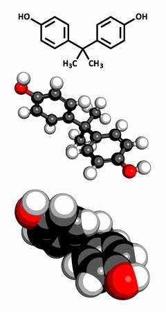 epoxy: Bisphenol A (BPA) plastic pollutant molecule, chemical structure. BPA is a chemical often present in polycarbonate plastics that has estrogen disrupting effects. Three representations: 2D skeletal formula, 3D space-filling model and 3D ball-and-stick mode
