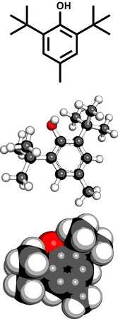 antioxidant: butylated hydroxytoluene (BHT) food additive, molecular model. BHT is a controversial chemical antioxidant often added to food products. Three representations: 2D skeletal formula, 3D space-filling model and 3D ball-and-stick model.