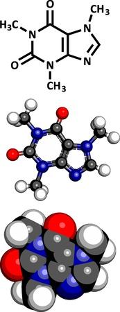 caffeine: Caffeine, molecular model. Three representations: 2D skeletal formula, 3D space-filling model and 3D ball-and-stick model. Illustration