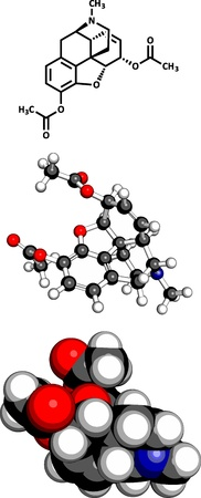 palliative: heroin (diacetylmorphine) narcotic drug, molecular model. Three representations: 2D skeletal formula, 3D space-filling model and 3D ball-and-stick model.