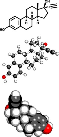 representations: Ethinyl estradiol (EE) anticonceptive hormone, molecular model. Three representations: 2D skeletal formula, 3D space-filling model and 3D ball-and-stick model.  Illustration