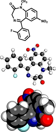 benzodiazepine: flunitrazepam benzodiazepine drug, molecular model. Three representations: 2D skeletal formula, 3D space-filling model and 3D ball-and-stick model.