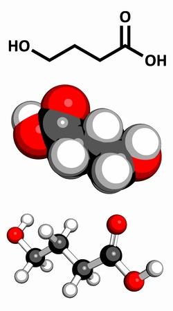 передозировка: гамма-оксимасляной кислоты (ГОМК, жидкий XTC) препарат, молекулярная модель. Три представления: 2D скелетных формула, 3D модели пространственно-наполнения и 3D модели мяч и пряника.