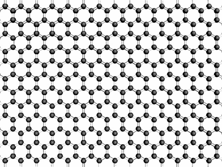 allotrope: Graphene sheet, molecular model. Graphene is an allotrope of carbon in which all atoms are arranged in a hexagonal honeycomb-like pattern. Atoms are represented as spheres.  Illustration