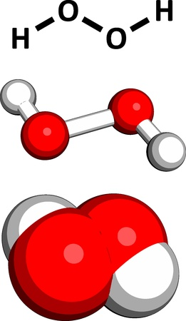Hydrogen peroxide (H2O2) molecule, chemical structure. HOOH is an example of a reactive oxygen species (ROS). H2O2 solutions are often used in bleach and cleaning agents. Three representations: 2D skeletal formula, 3D space-filling model and 3D ball-and-s Ilustração
