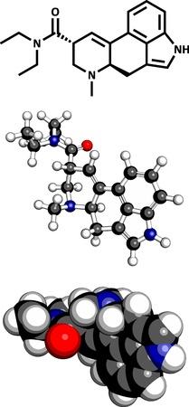 lsd: Lysergic acid diethylamide (LSD) hallucinogenic drug, molecular model. Three representations: 2D skeletal formula, 3D space-filling model and 3D ball-and-stick model.  Illustration