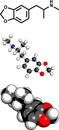 �xtasis: 3,4-metilendioximetanfetamina (MDMA, XTC, �xtasis), f�rmaco de mol�cula, la estructura qu�mica. Tres representaciones 2D: F�rmula del esqueleto, modelo 3D llenado de espacio y modelo 3D de bola y palo.
