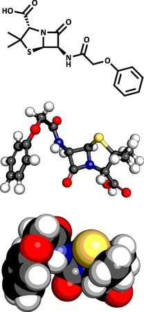 penicillin: Penicillin V antibiotic molecule, chemical structure. Penicillin V or phenoxymethylpenicillin is used to treat bacterial infections. Three representations: 2D skeletal formula, 3D space-filling model and 3D ball-and-stick model.