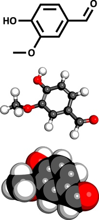 aldehyde: Vanillin vanilla extract molecule, chemical structure. Vanillin is the main component of vanilla extract. Three representations: 2D skeletal formula, 3D space-filling model and 3D ball-and-stick model. Illustration