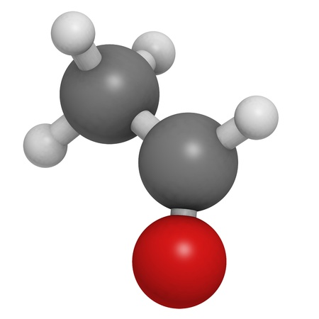 carcinogen: Acetaldehyde (ethanal) molecule, chemical structure. Acetaldehyde is a toxic molecule responsible for many symptoms of alcohol hangover. Atoms are represented as spheres with conventional color coding: hydrogen (white), carbon (grey), oxygen (red) Stock Photo