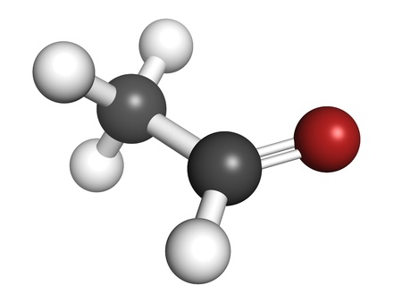 Acetaldehyde (ethanal) molecule, chemical structure. Acetaldehyde is a toxic molecule responsible for many symptoms of alcohol hangover. Atoms are represented as spheres with conventional color coding: hydrogen (white), carbon (grey), oxygen (red) Stock Photo - 18502380