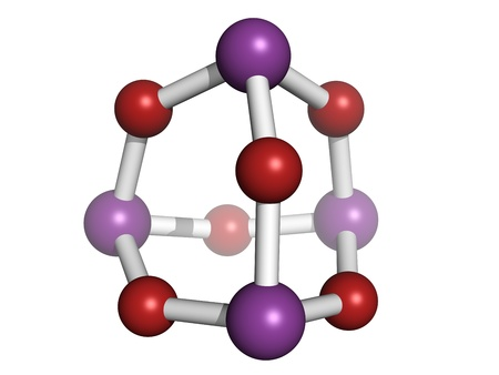 Arsenic trioxide (As2O3, As4O6) poison, chemical structure. Arsenic trioxide and other forms of arsenic are highly toxic chemicals. Atoms are represented as spheres with conventional color coding: oxygen (red), arsenic (purple) Stock Photo - 18502401